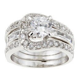 Sterling Essentials Sterling Silver Cubic Zirconia Engagement-style Ring