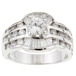 Sterling Essentials Sterling Silver Cubic Zirconia Bridal-style Ring
