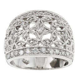Sterling Essentials Sterling Silver Cubic Zirconia Vintage-style Dome Ring