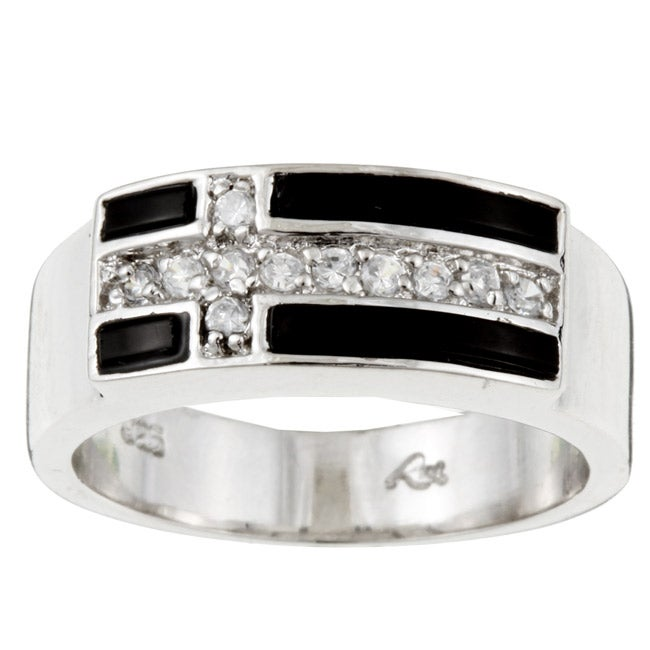 Sterling Essentials Sterling Silver CZ and Black Onyx Cross Ring