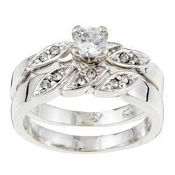 Sterling Essentials Sterling Silver CZ Engagement-style Ring Set