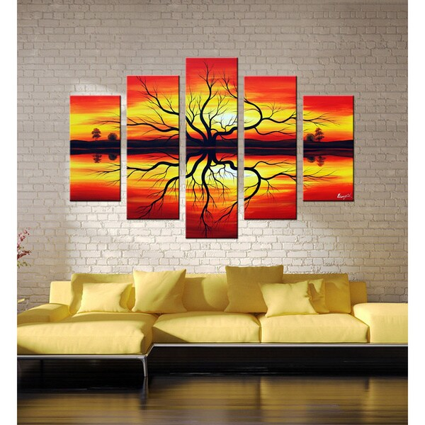 'Sunset' Hand-painted Canvas Art Set