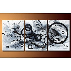'Abstract' Hand-painted Gallery-wrapped Canvas Art (Set of 3)