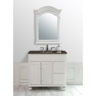 Stufurhome Snow White 36-inch Single Sink Baltic Brown Granite Top Vanity