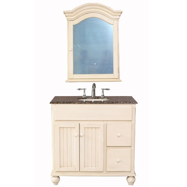 Stufurhome Snow White 36 Inch Single Sink Baltic Brown Granite Top Vanity Overstock Shopping