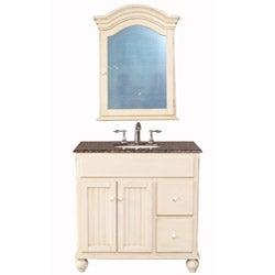 Stufurhome Snow White 36-inch Single Sink Baltic Brown Granite Top Vanity