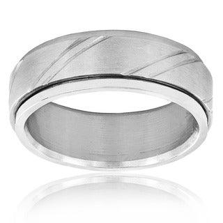 West Coast Jewelry Stainless Steel Laser Notched Design Spinner Ring