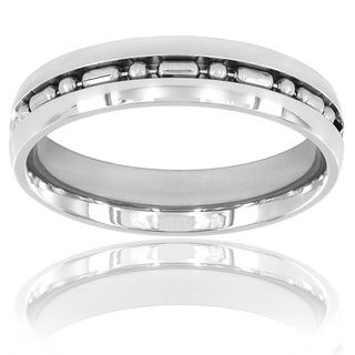 Stainless Steel Ball-bar Chain Inlay Domed High Polished Ring