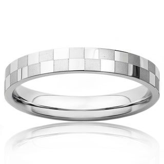 West Coast Jewelry Two-tone Stainless Steel Checkered Ring