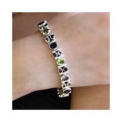 Sterling Silver Amethyst/ Garnet 'Sparkle' Bracelet (India)