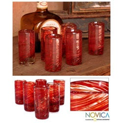 Set of 6 'Ripe Ruby' Blown Glass Shot Glasses (Mexico)