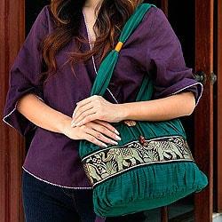 Cotton 'Emerald Thai' Shoulder Bag (Thailand)