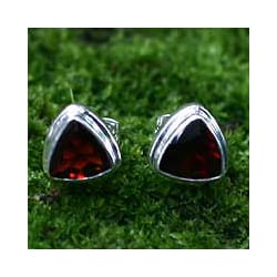 Garnet 'Fire' Stud Earrings (Indonesia)