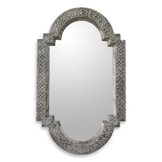 Handmade Metallic Mango Wood Palace Window Mirror (India) - Silver