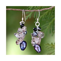 Silver Pearl/ Smokey Quartz 'Surreal' Earrings (Thailand)
