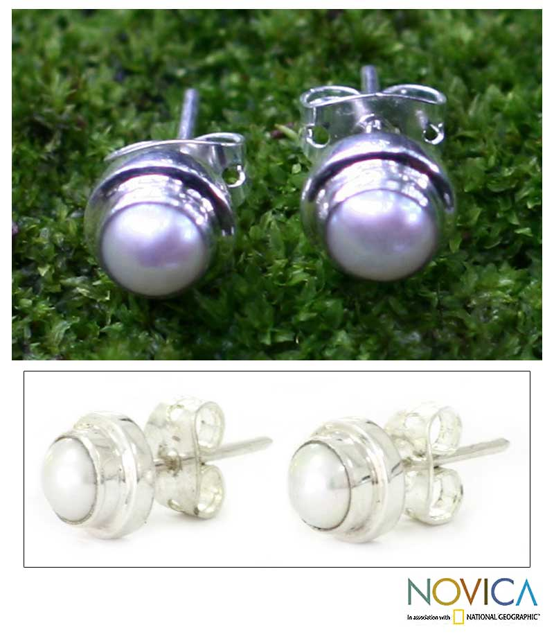 Sterling Silver Pearl 'White Moon' Stud Earrings (Indonesia)