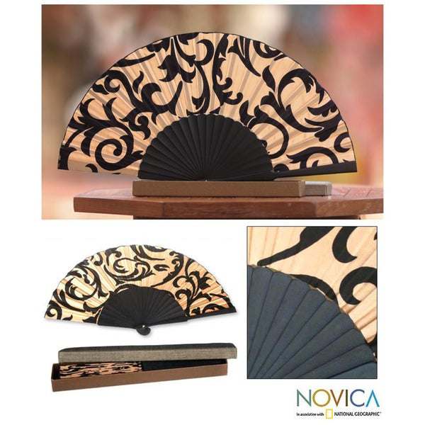 Silk 'Ivory Bali Glory' Batik Fan (Indonesia)