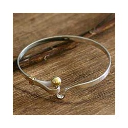 Golden Torch Artisan Handmade Modern Sterling Silver with 18K Gold Accents Womens Bangle Bracelet (Peru)