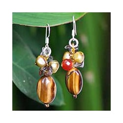 Tiger's Eye and Carnelian 'Warmth' Cluster Earrings (Thailand)