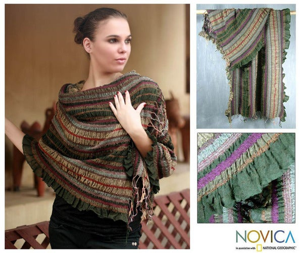 Wool 'Ruffled Olive' Shawl (India)