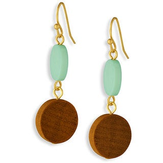 NEXTE Jewelry Turquoise and Wood Dangling Earrings