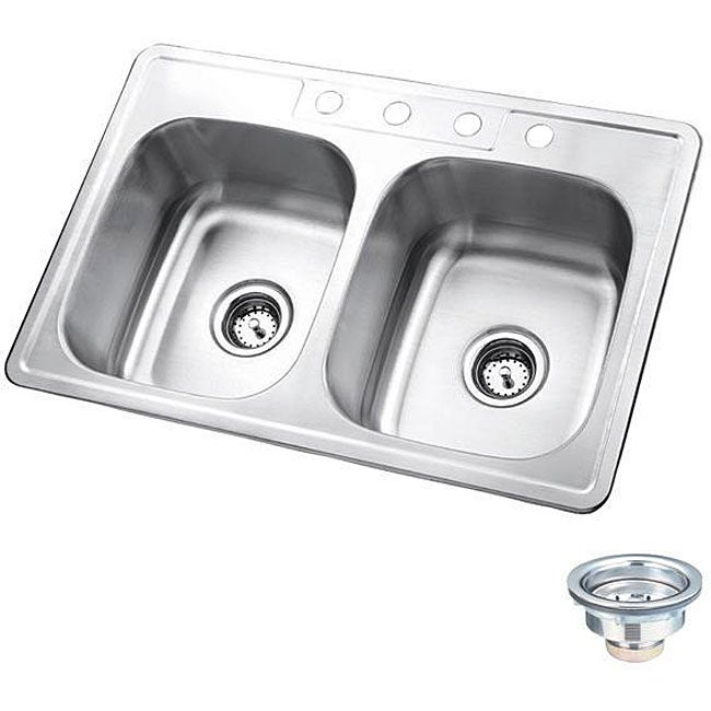 Double Sink Stainless Steel : Polaris Sinks P205T Topmount Double Equal Bowl Stainless Steel Sink