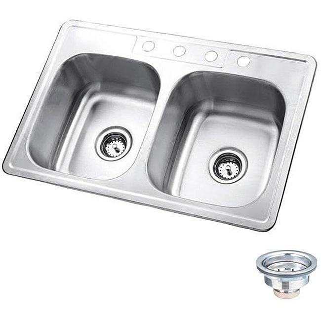 Polaris Sinks P205T Topmount Double Equal Bowl Stainless Steel Sink