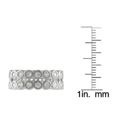 Tressa Sterling Silver Stackable Cubic Zirconia Miligrain Bezel Eternity Band