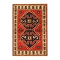 Indo Kazak Hand-knotted Red/ Ivory Rug (4' x 6')