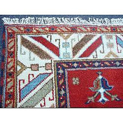 Indo Kazak Hand-knotted Red/ Ivory Rug (4'8 x 6'6)