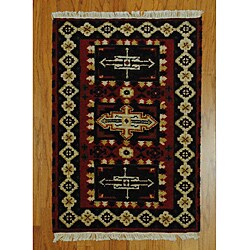 Indo Kazak Hand-knotted Red/ Ivory Rug (2' x 3')