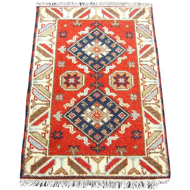 Indo Kazak Hand-Knotted Geometric Red/Ivory Rug (2' x 3')