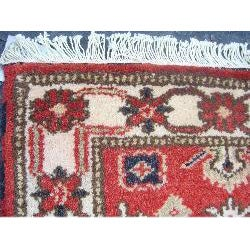 Indo Kazak Hand-Knotted Tribal Red/Ivory Rug (2' x 3')