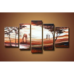 Hand-painted African Scene Oil Painting Set