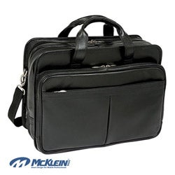 McKlein Walton Leather Double Compartment 17-inch Laptop Briefcase
