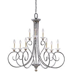Athenia 9-light Silver-patina Chandelier