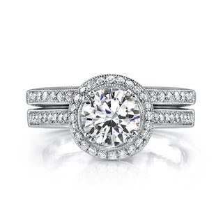 18k Gold 1 1/2ct TDW EGL Certified Diamond Bridal Set (I, SI1-SI3)