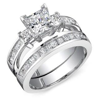 18k White Gold 2 7/8ct TDW Princess Cut 2-Piece Diamond Ring Set (H-I, SI2-SI3)