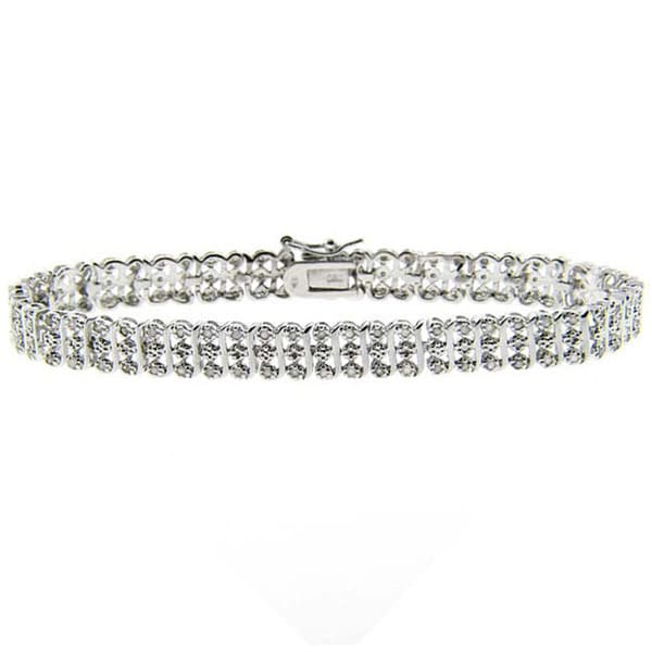Finesque Sterling Silver 1ct TDW Diamond S-Link Bracelet