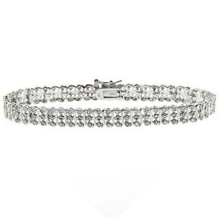 Sterling Silver 1ct TDW Diamond S-link Tennis Bracelet