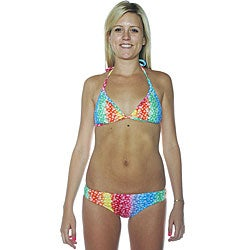 Island World Women's Tie-dye Peace Triangle Pucker Bikini