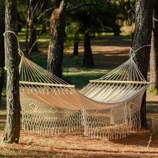 Hand Crocheted White Cotton Maya Daydream Hammock (Mexico)