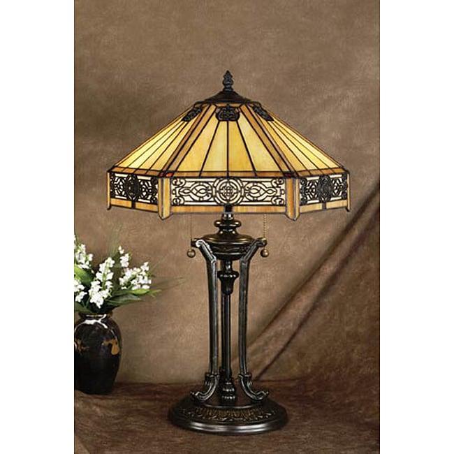 tiffany style mission design 2 1 light blackish bronze table lamp. Black Bedroom Furniture Sets. Home Design Ideas