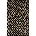 Hand-knotted Black Contemporary Visby New Zealand Wool Geometric Rug (2'6 x 10')