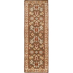 Hand-knotted Brown Southwestern Park Ave Wool Rug (2'6 x 8') with Free Rug Pad