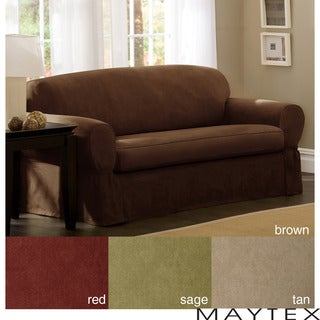Maytex Piped Suede 2-piece Sofa Slipcover