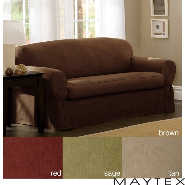 Maytex Piped Suede 2 Piece Loveseat Slipcover Overstock Shopping Big Discounts On Maytex