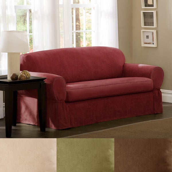 Maytex Piped Suede 2-piece Loveseat Slipcover