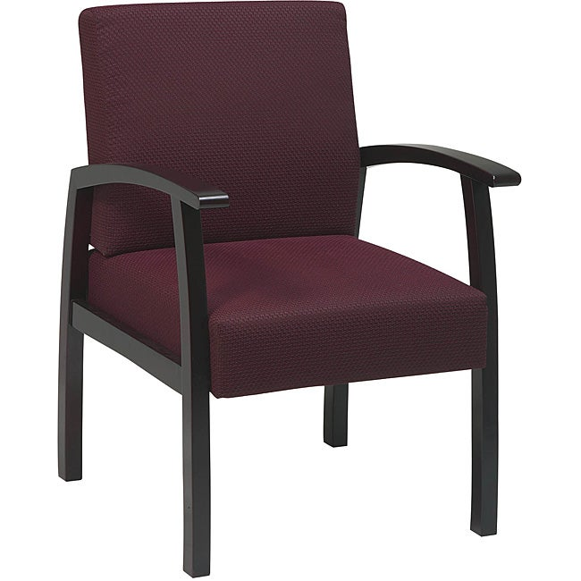 Office Star Ruby Fabric with Mahogany Wood Guest Chair