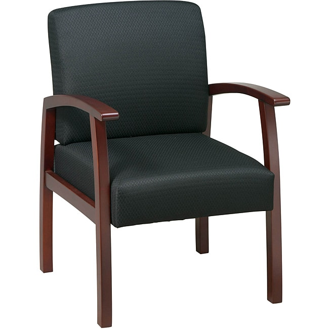 Office Star Black Fabric with Cherry Wood Guest Chair